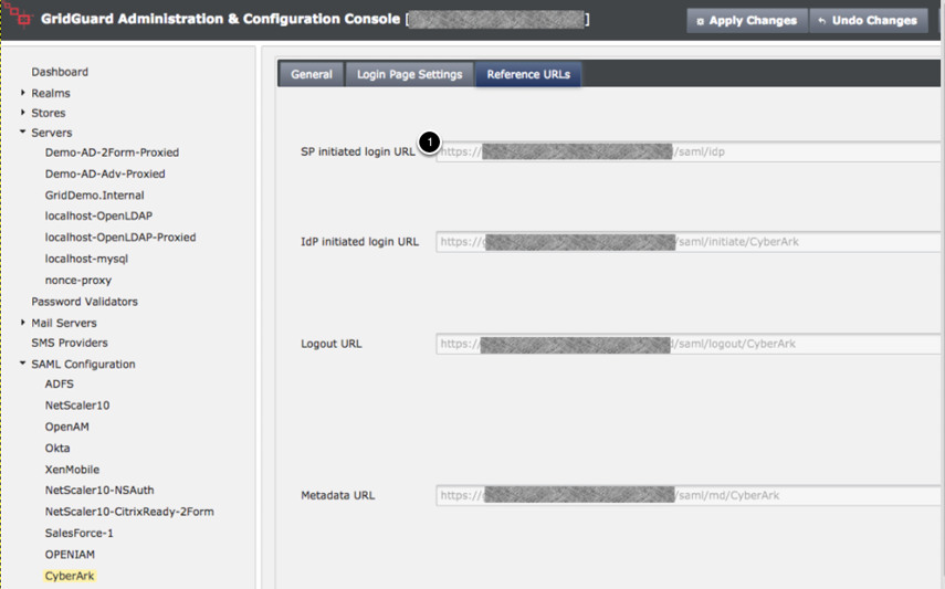 SAML Configuration - Reference URL Tab