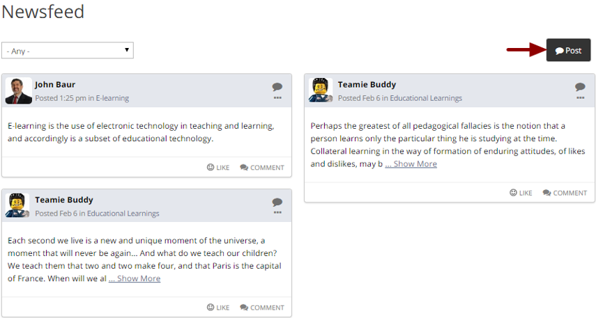 Sharing a post with multiple classrooms