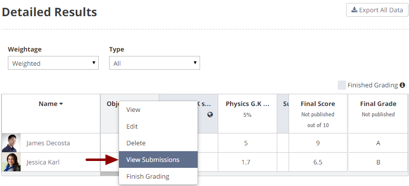 c. Accessing learners submissions from classroom gradebook