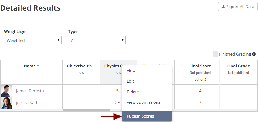 Publishing scores of an assessment