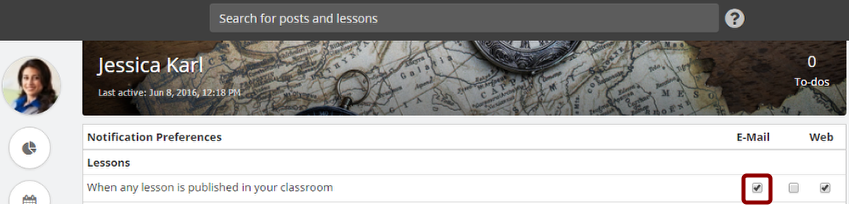 Manage Notifications for Lessons