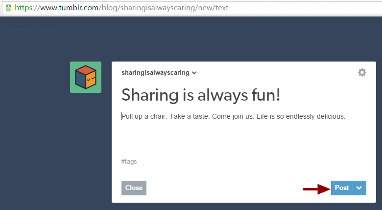 Creating a new post in Tumblr blog