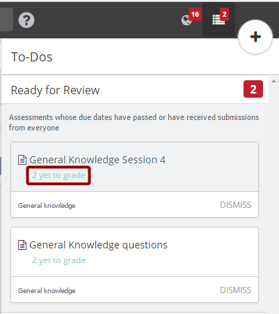 Grading submissions from your To-Dos section