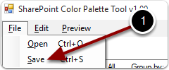 Save the custom color palette