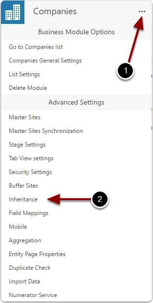 Open inheritance settings