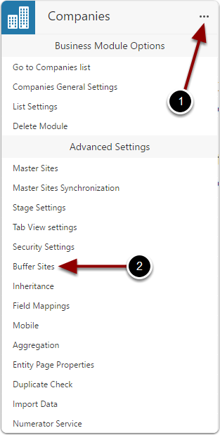 Open buffer sites settings