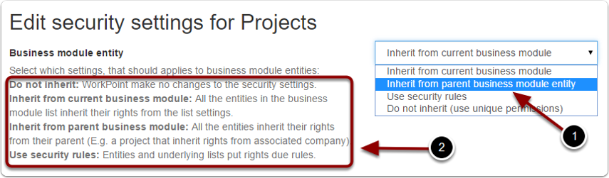 Edit business module entity security settings