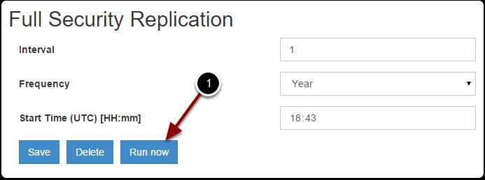 Execute a security replication
