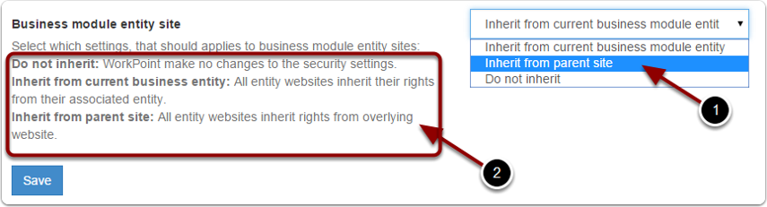 Edit business module entity site security settings