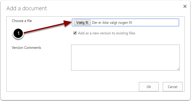 Choose the file to upload