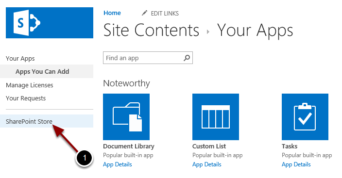 Opening the SharePoint Store