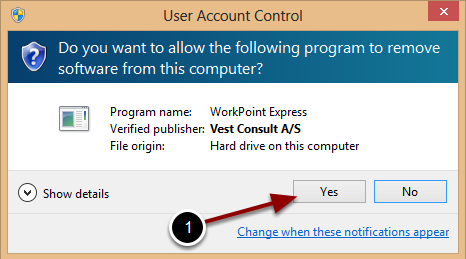 Allowing the uninstallation of WorkPoint Express