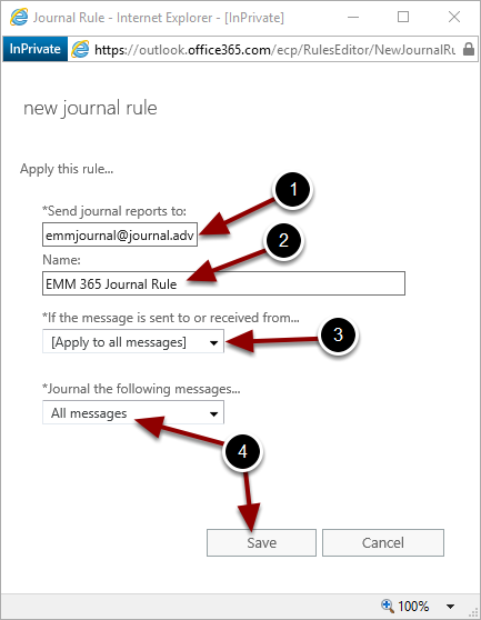Configuring the new journal rule
