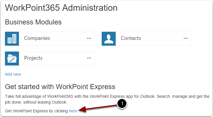 Opening the WorkPoint Express download section in WorkPoint 365