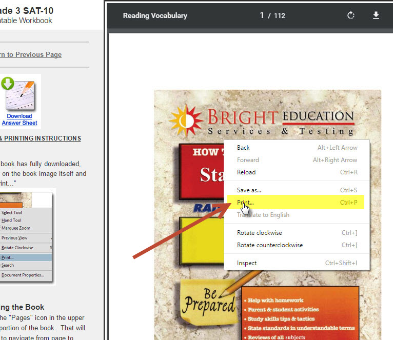 "2.2 Right click on the workbook once it is fully downloaded and select ""Print..."""