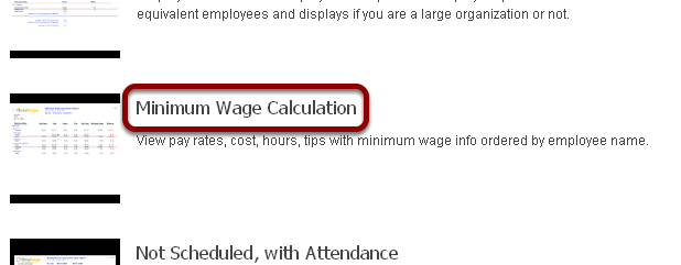 "Run the ""Minimum Wage Calculation"" report."