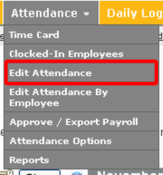 "Go to the ""Edit Attendance"" page."