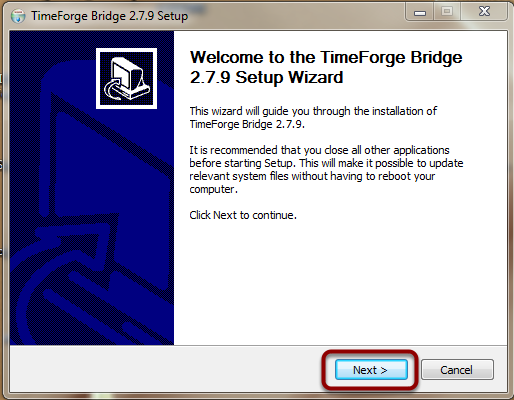 Instal TimeForge on MFS 1