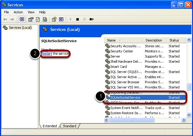 Restart SQLiteSocketService