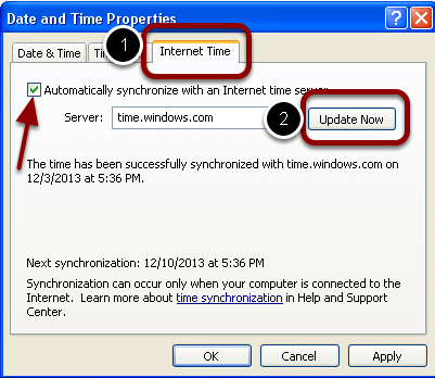 Check Internet Time Sync