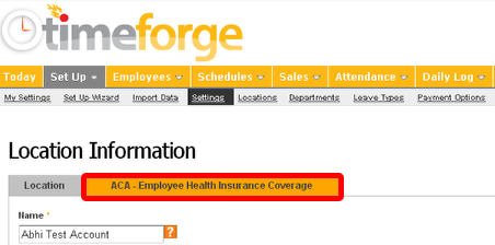 "Click the ""ACA"" tab."
