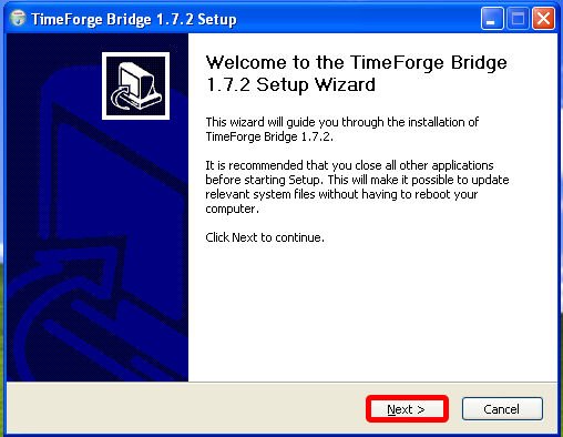 Install the TimeForge Dinerware Bridge software.