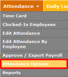 "In TimeForge, go to the ""Attendance Options"" page."