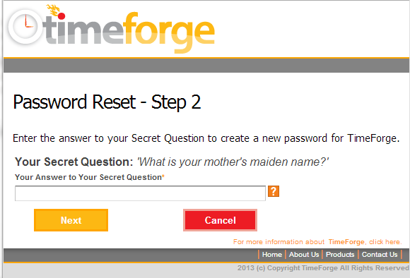 Password Reset - Step 2