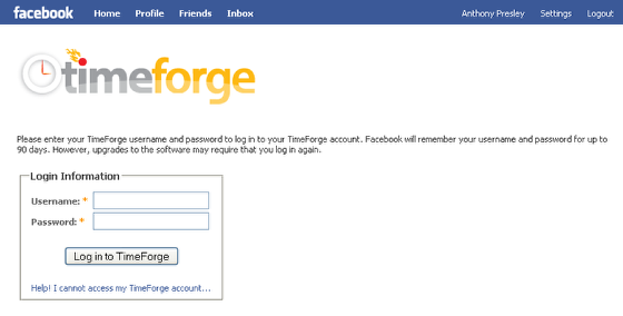 Enter your TimeForge Username and Password
