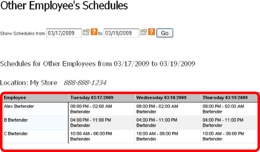 View Other Employee's Work Schedules