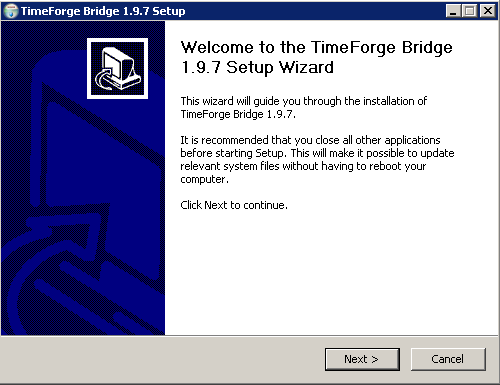 Install the TimeForge ISS45 Bridge software