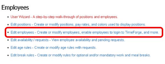 Access the Employees List