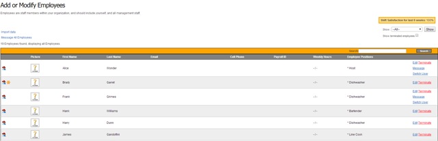 Employee List on TimeForge