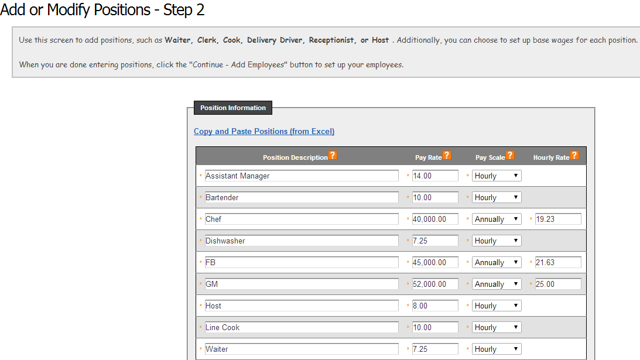 Create Positions and Set Pay Rates (Step 2 of 3 in the Setup Wizard)