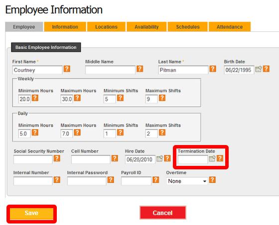 "Terminate an employee via ""Edit."""