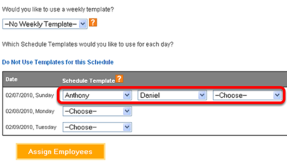 Choose one or more work schedule templates.