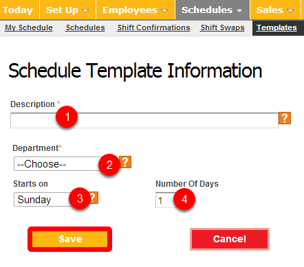 Fill out the work schedule template information.