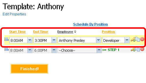Add shifts to the work schedule template.