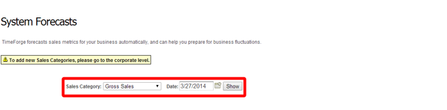 Select your sales category and date you want to forecast.