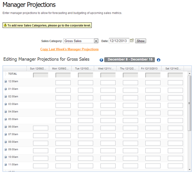 Enter Manager Projections