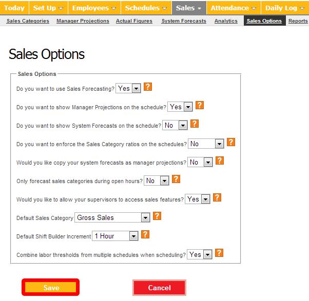 "Configure your ""Sales Options."""