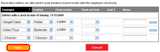 Adjust the time card entry.