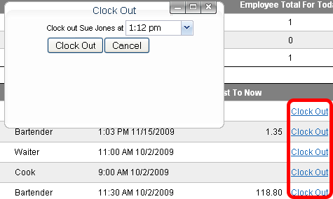 Clocking-out an employee.