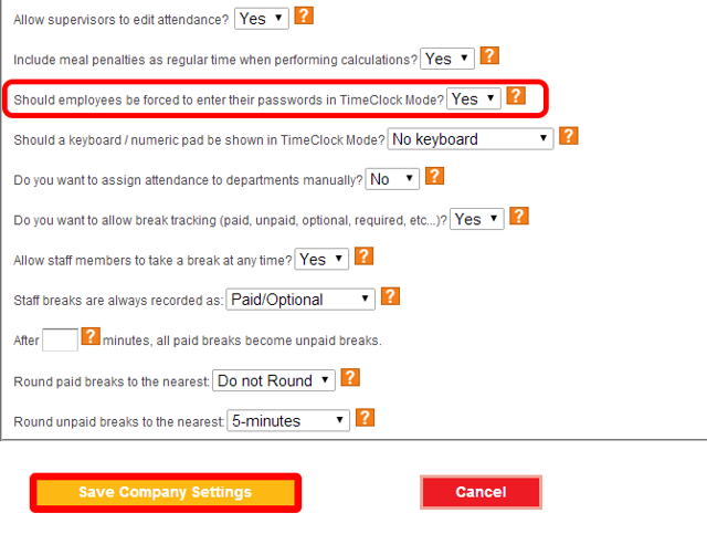 Configure passwords for TimeClock mode.