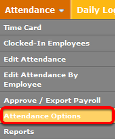 "Navigate to the ""Attendance Options"" page."