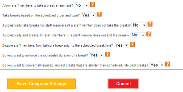 Configure the break rules as needed.