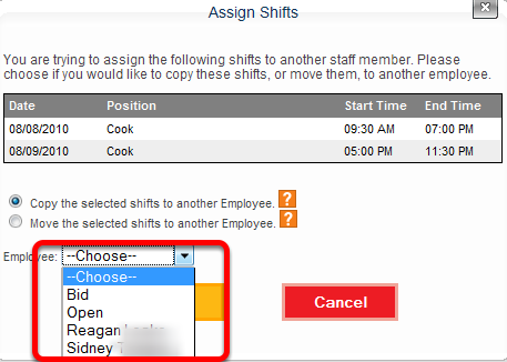 Select an Employee.
