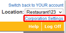 Log in at the Corporate level.