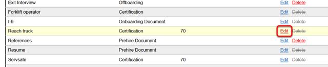 Edit certifications.