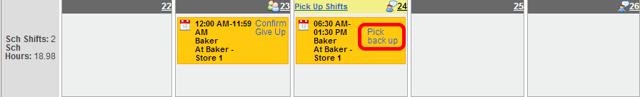 Shift swap is pending.